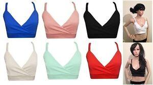 New-Womens-Ladies-Plain-Strappy-Sports-Bra-Crop-Top-Vest-Tank-Bralet-Top-8-14