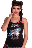 Hell Bunny Black Carousel Horse Roses Punk Polka Bows Tank Vest Top UK 8-16