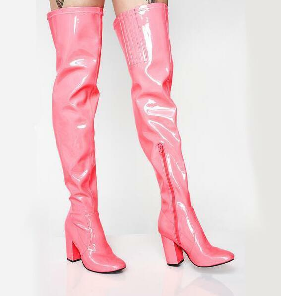 Womens Patent Leather Candy color Over Knee High Boots Heel Nightclub shoes