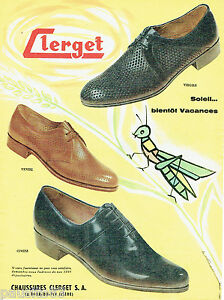 42180af5cf PUBLICITE ADVERTISING 125 1958 CLERGET chaussures homme | eBay