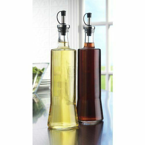 Glass Oil And Vinegar Cruet Dispenser 20oz Set Of 2 Black Caps Sleek Kitchen  | EBay