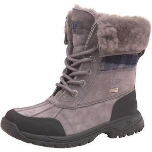 UGGs Kids Boys BUTTE Metal Gray Blue Winter Boots -4F Waterproof BN ... 33b7fd72f8a4