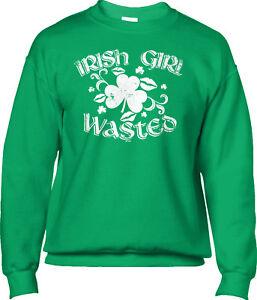 7b29fd21 Irish Girl Wasted St Patricks Day Funny Drunk Drinking Joke Mens ...