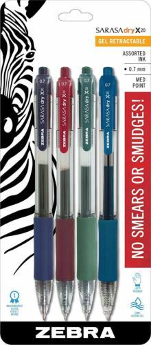 0.7mm Choose Color /& Pack Size Zebra Sarasa X20 Dry Gel RDI Retractable Pen