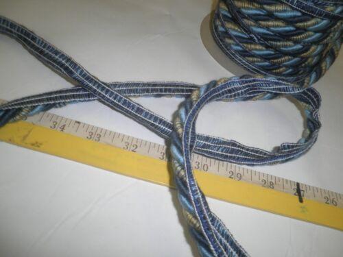 """13 1//2 yards Decorative CORDING W//LIP  7//16/""""  BLUES//YELLOW  Fabric Trim AF-507"""