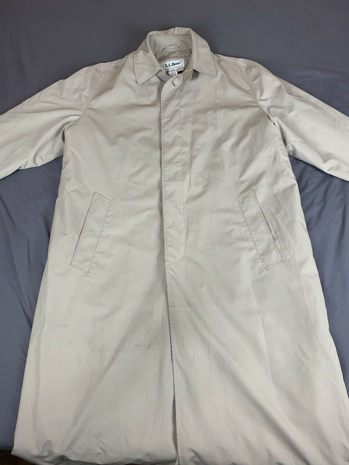 LL Bean Mens TrenchCoat Size Large Tall Lightweight W  Removable Wool Liner
