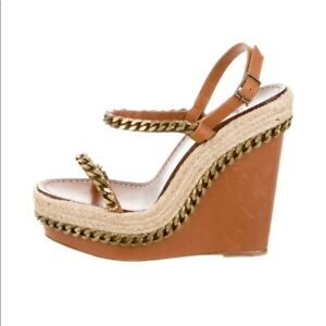 cheap for discount b5fd3 84c46 Details about Christian Louboutin Brown Leather Chain Macarena Espadrille  Wedges Size 38/8