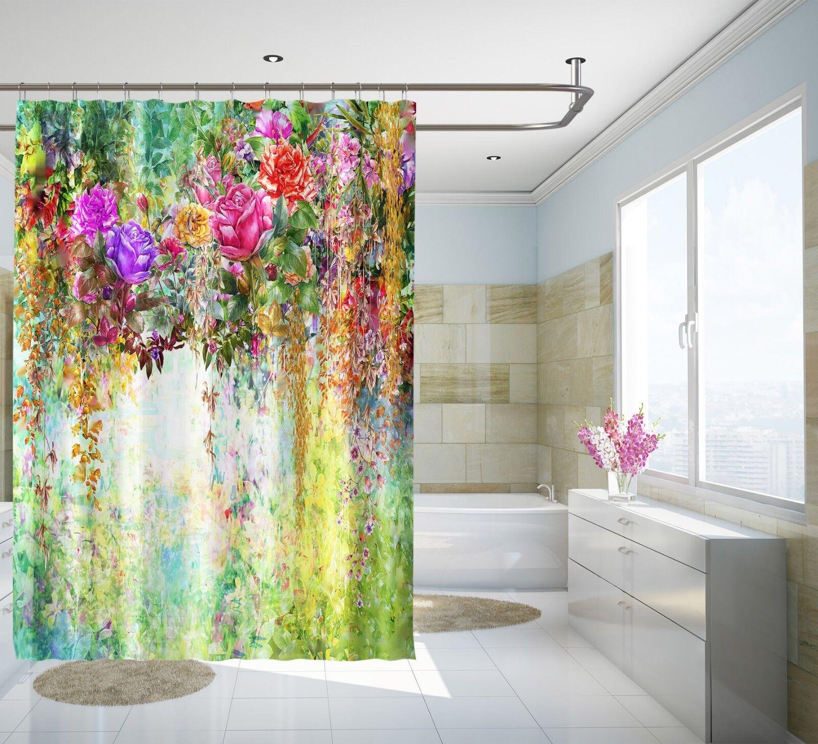 3D Flowers Vine 78 Shower Curtain Waterproof Waterproof Waterproof Fiber Bathroom Home Windows Toilet 984065