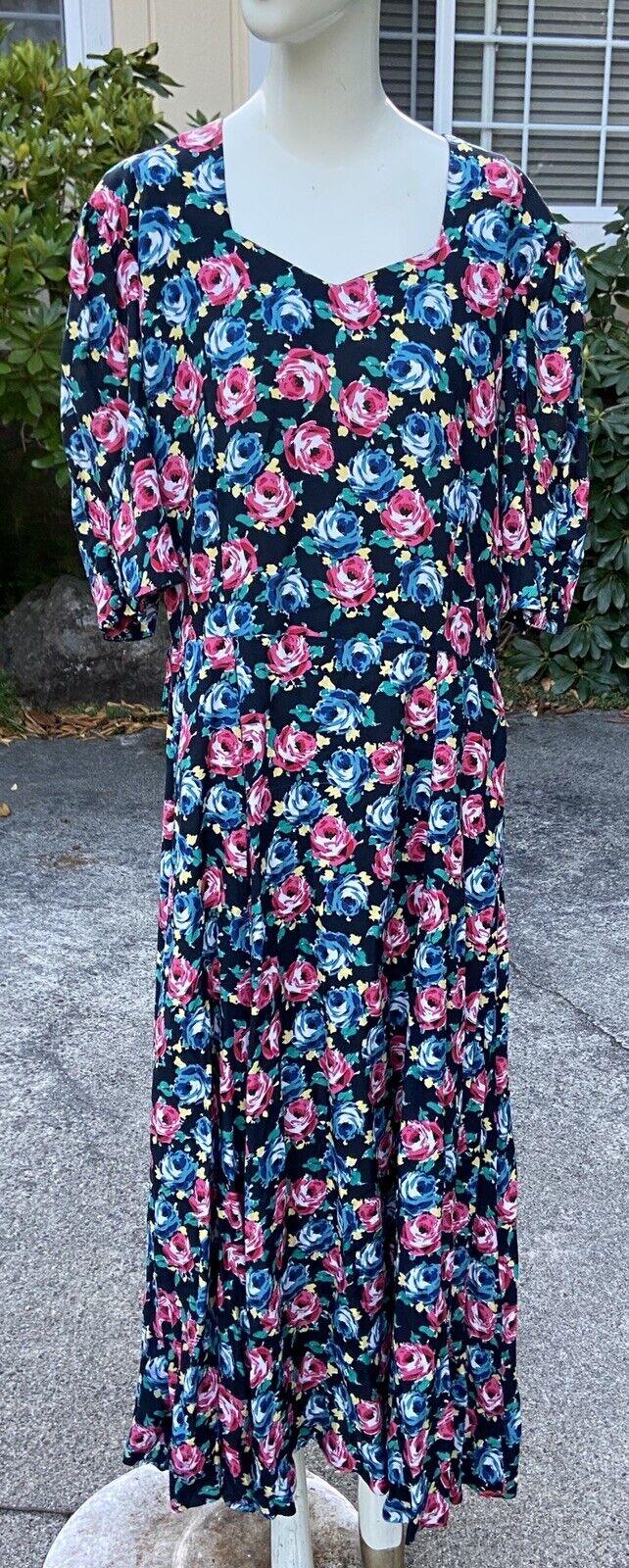 80s 90s Vtg Floral Print Laura Ashley Dress Cotta… - image 4