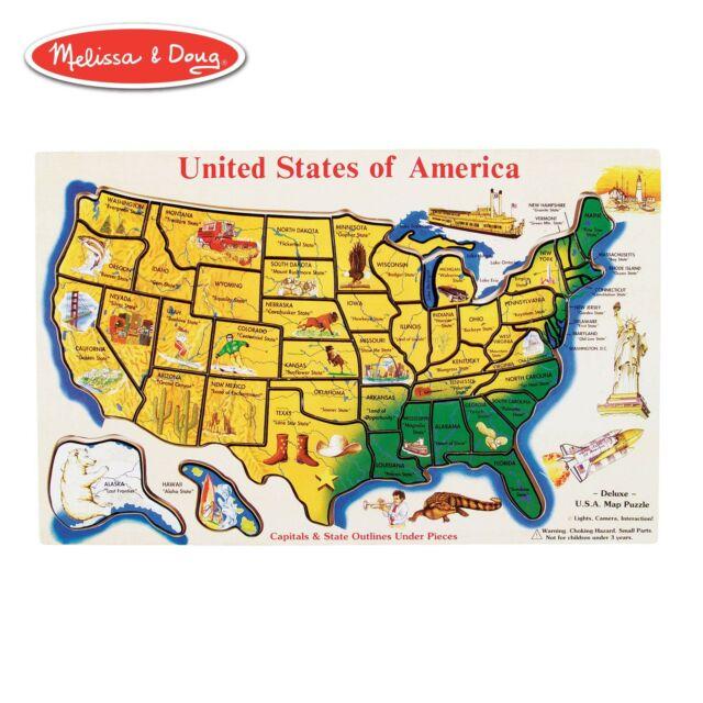 Map Of America Jigsaw.Melissa Doug Usa Map Wooden Puzzle 45pcs Jigsaw Puzzles