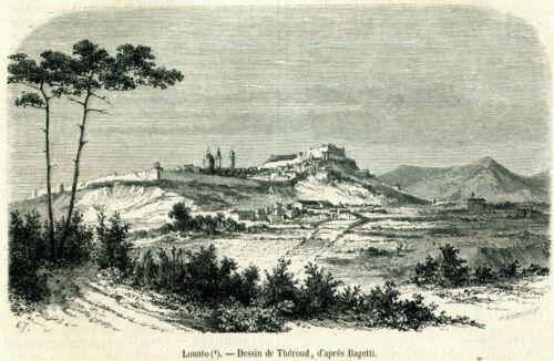Lonato del Garda: Panorama. Brescia.Lombardia. Stampa Antica + Passepartout.1859