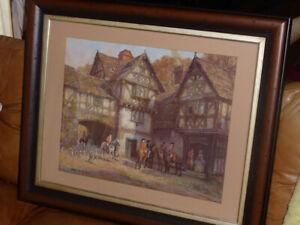 FM-BENNETT-1929-Framed-Art-Print-034-THE-MEET-AT-THE-MANOR-034-Hunting-Horses-amp-Dogs