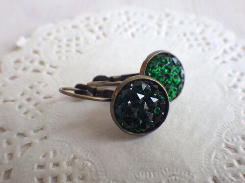 Ohrringe druzy smaragdgrün Ohrhänger Brisur bohemian minimal style grün