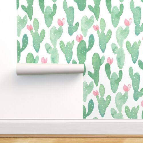 Removable Water-Activated Wallpaper Baby Girl Baby Nursery Cacti Cactus