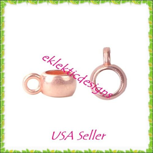 10pcs Copper Rose Gold Round Rondelle Hangar Bails Beads Spacers 7x5x4mm Finding