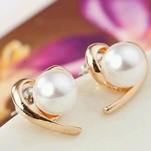 #1143 New Fashion Jewelry Rose Gold Plated Pearl Stud Earrings