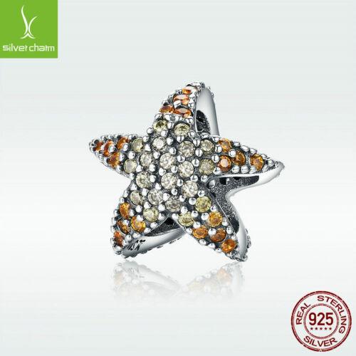 925 Sterling Silver Charm Ocean Star Bead Starfish Pendentif Cadeau Unique Pour Chaîne