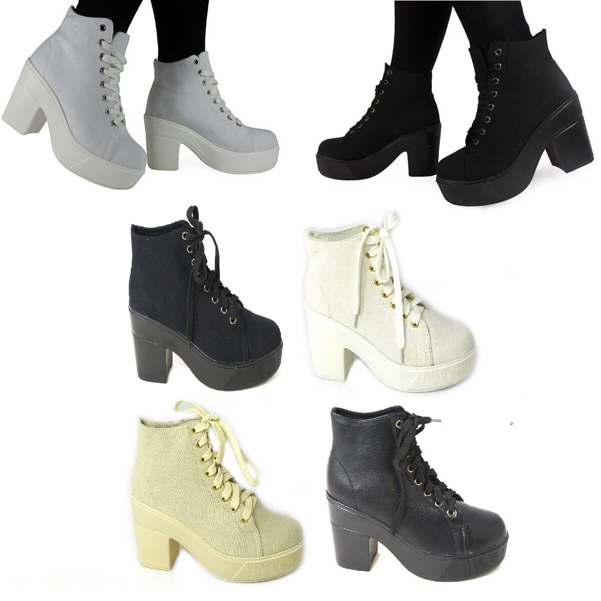NEW WOMENS LADIES ANKLE LACE UP PLATFORM HIGH BLOCK HEEL WORK SHOES BOOTS SIZE