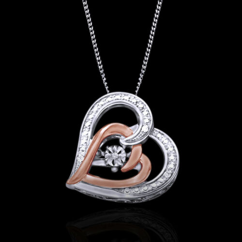 """Mother's Day 14K White Gold Over Real Diamonds Heart Pendant Necklace 18/"""" Chain"""