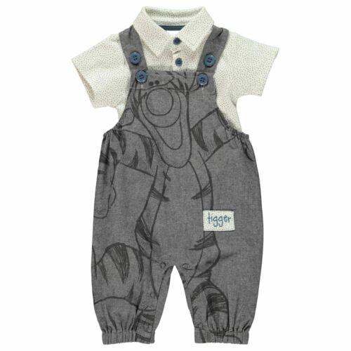 Disney Kids Two Piece Dungaree Set Babies Short Sleeve Button Placket Print