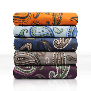 Flannel-Paisley-Pillowcases-2-Piece-LightWeight-5-Colors