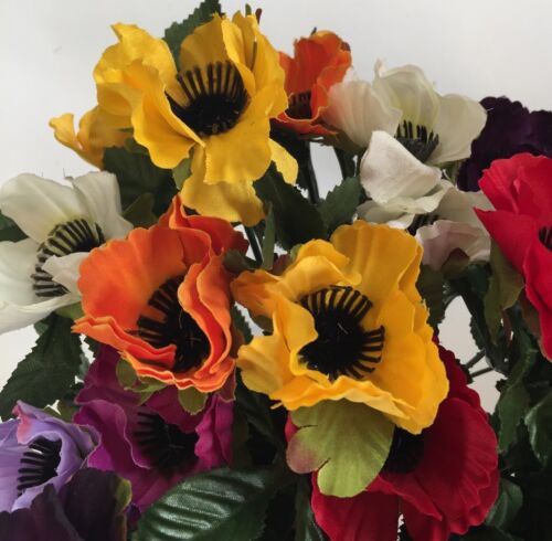 Artificial Silk Fake Flowers 5 X Bushes Of Mixed Anemones  Poppy Pansy Job Lot