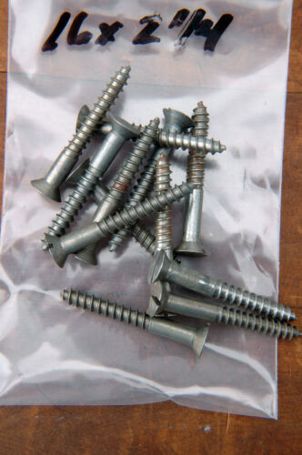 "Wood Screws Flat Head Slotted Plain Steel #16 X 2-1//4/"" WS16214"