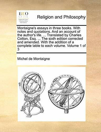 Montaigne essays sparknotes