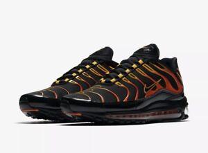 Details about Men's Nike Air Max 97 Plus Shoes Black Engine 1 Orange Rise Size 4 AH8144 002