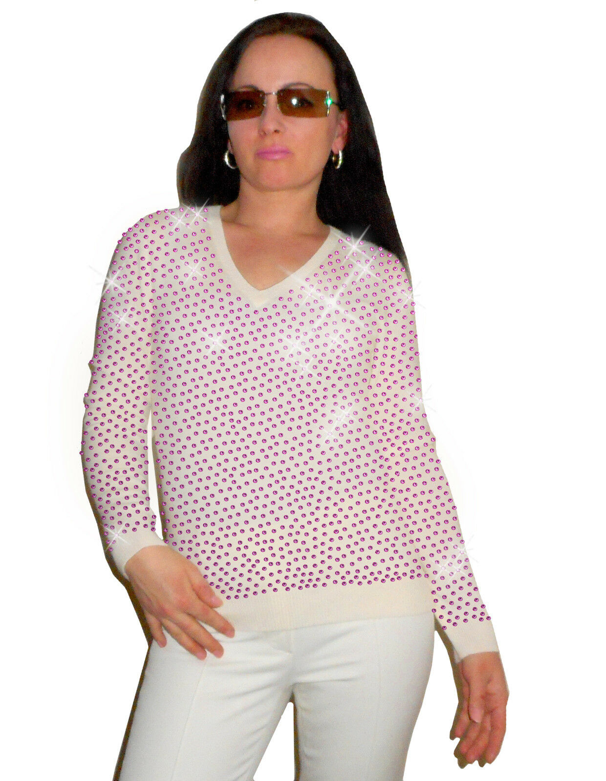 Luxe Oh` Dor 100% Cashmere Cashmere Cashmere Sweater Elite White Pink 46 1623.1oz  XL Luxury 3ca413