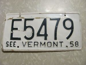 Details about 1958 VERMONT LICENSE PLATE FREE SHIPPING SEE MY OTHER PLATES