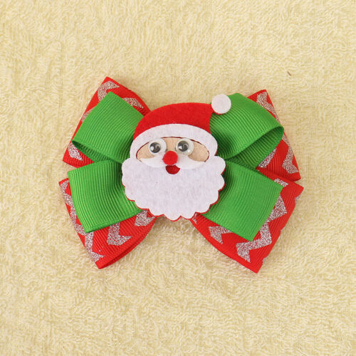 2Pcs//lot Christmas Hair Bows for Girls Clips Printed Santa Claus Party Hairgrips