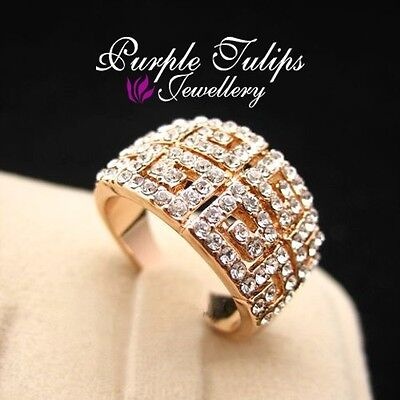 18K Rose Gold Plated Classic Retro Pattern Ring W/ Genuine SWAROVSKI Cryatals