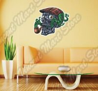 Funny Skull Smoking Pipe Cap Green Smoke Wall Sticker Interior Decor 22x22