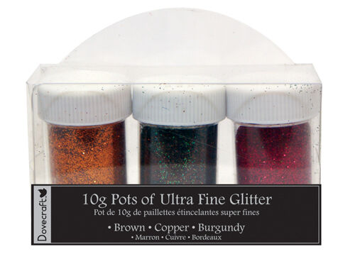 Burgundy Copper Dovecraft Ultra Fine Glitter 3 pots 10g Chocolate