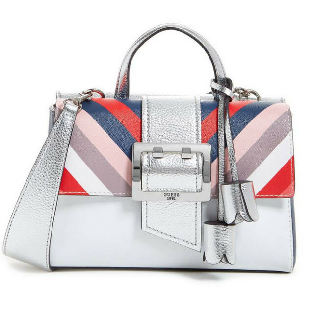 NWT GUESS Tori Saffiano Flap Satchel Handbag Purse Metallic White Silver