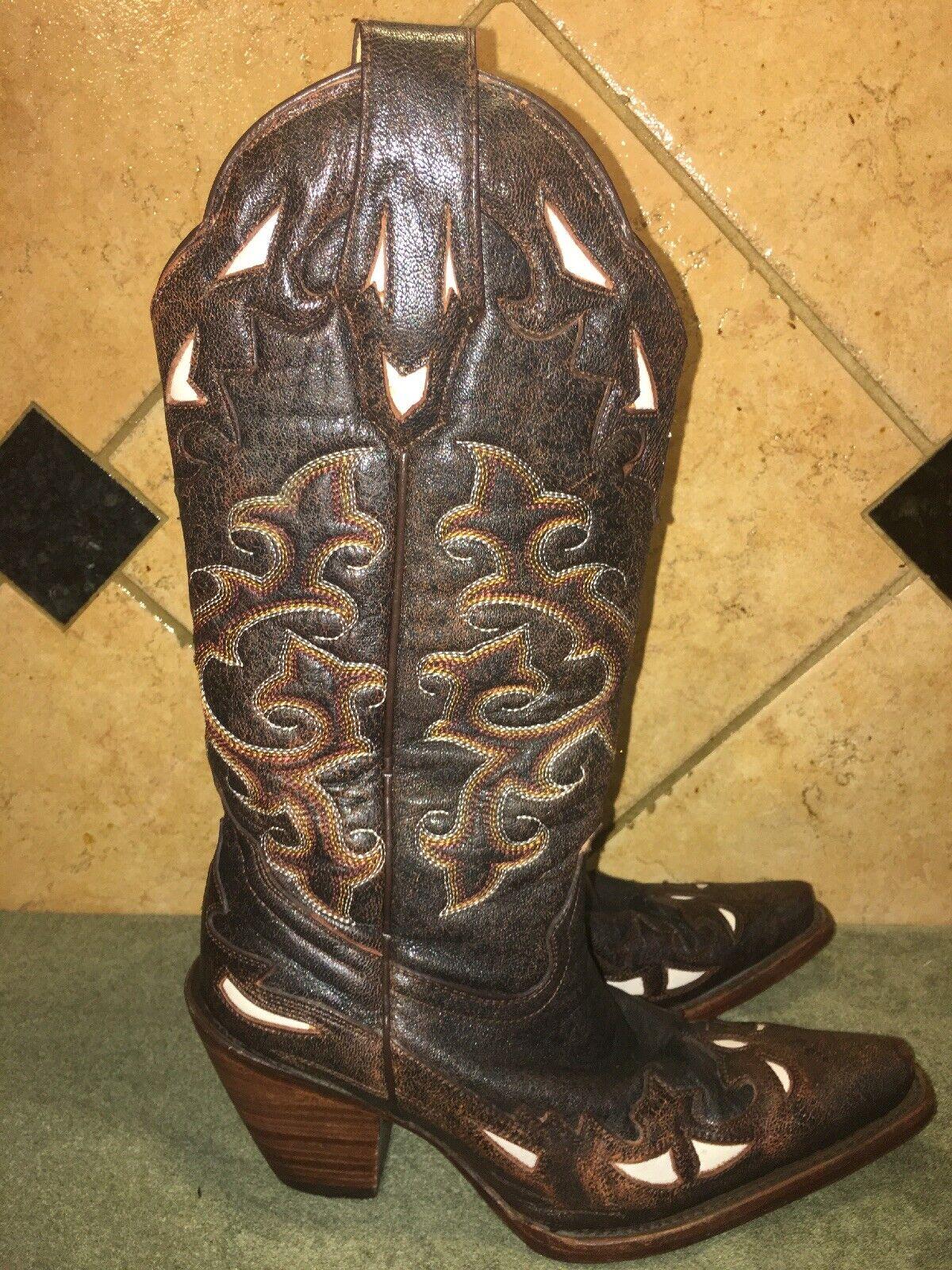 Para mujeres Cuero del zurriago Corral Cruz Negra Marrón botas De Vaquero Occidental M