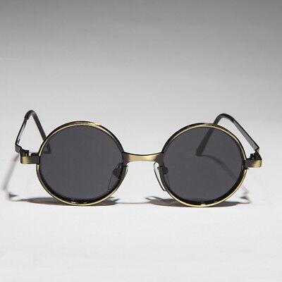Emmett Small Round Gothic Victorian Steampunk Sunglasses Bronze//Green Lens