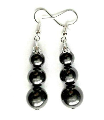 Schungit /& Shungit Ohrringe mit Perlen // Zertifikat 8;10;12 mm