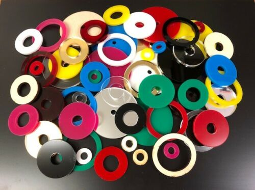 Sizes 10mm 50mm Mirrored Silver Acrylic Washers 3mm thick packs of 10