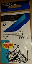 Owner 5114T-101 size 1 Tournament Mutu Light Circle Fishing Hooks qty 8