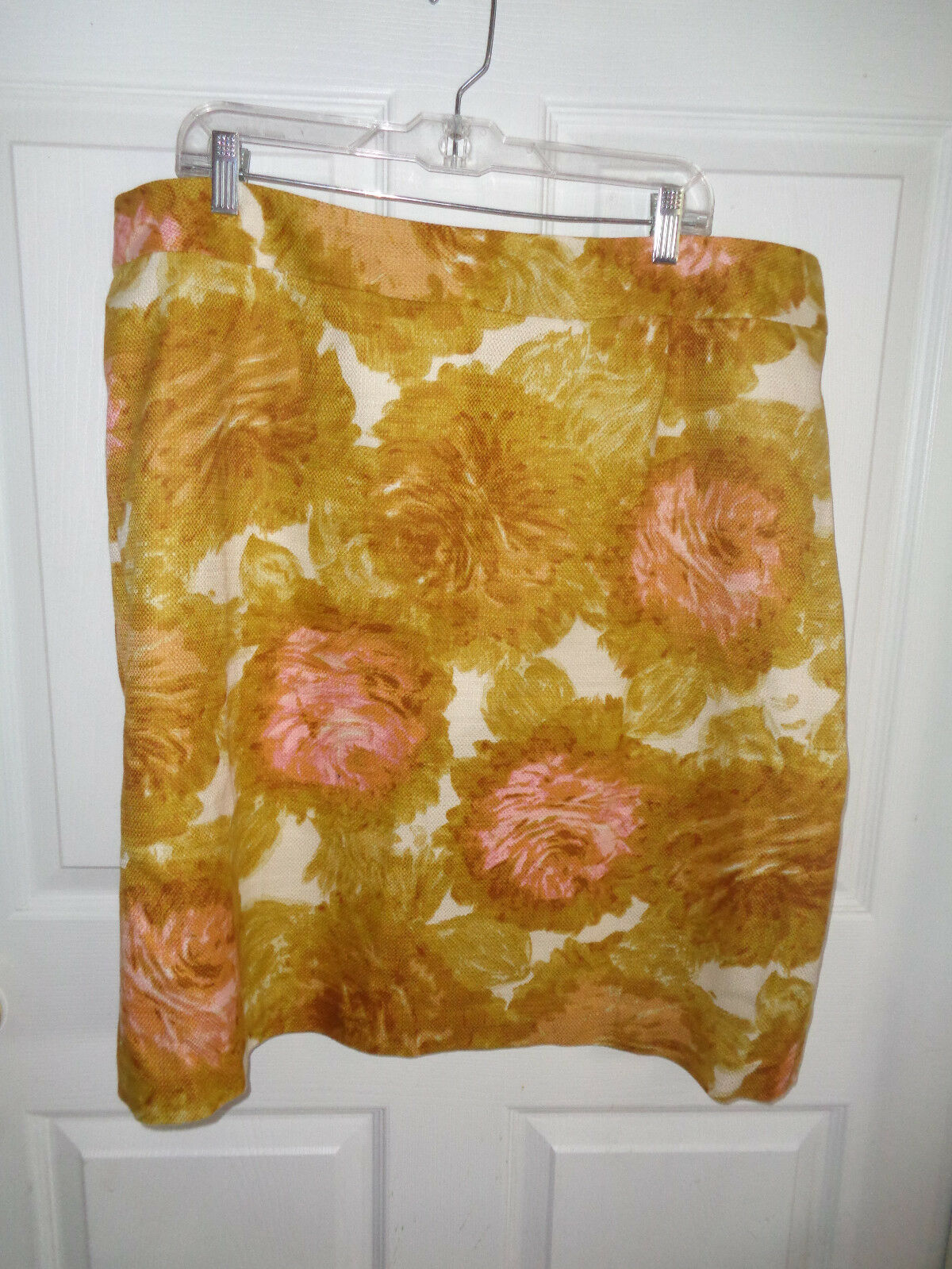 Talbots Woman - Green Yellow Floral- Lined - Cotton Skirt - Size 20W
