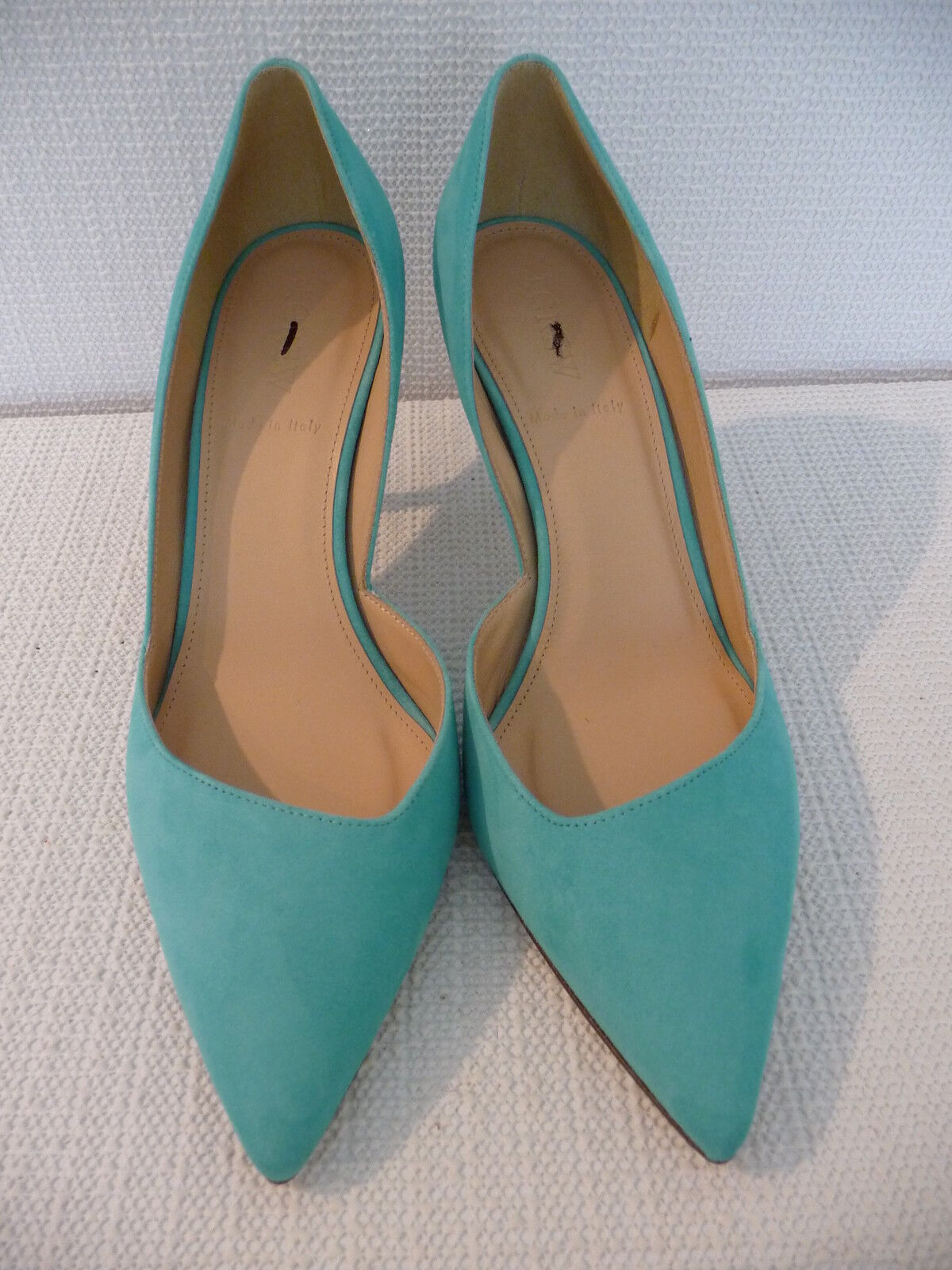 NEW J.CREW COLETTE SUEDE D'ORSAY PUMPS, E0795, SIZE 8, DUSTY EMARALD,  248