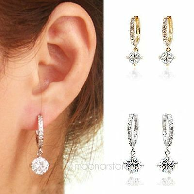 Charming  White Gold Plated Clear Crystal Hoop Earring Pendant