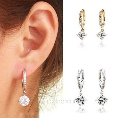 Vintage Gorgeous 18k white gold filled white Swarovski crystal hoop earring
