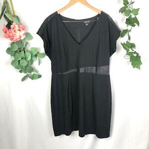 CITY CHIC Plus Size Black Short Sleeve Faux Leather Trim Dress - L/AU 20