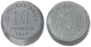Empire 10 Pfennig 1918 J.299 Lack Coinage: 15% Dezentriert (43524)