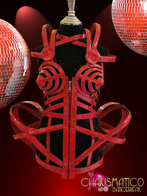 CHARISMATICO Shiny Red boned leather Bondage inspired Madonna cagecorset costume