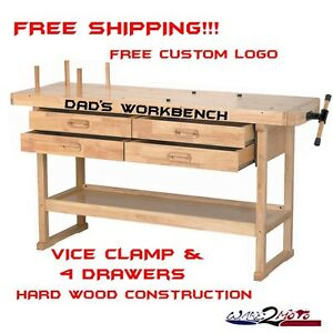 Hard Wood Garage Work Bench Table Reloading Machine Shop
