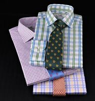 3x Blue Plaids & Checks Formal Business Dress Shirts Multi-coloured Ties Bundles